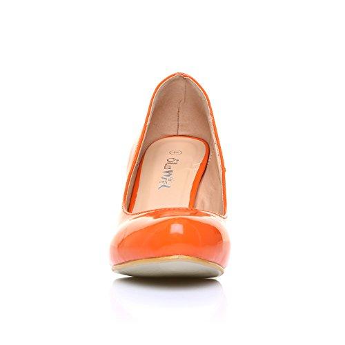 ShuWish UK - Escarpin Femme Chaussure Décolleté Talon Haut Stiletto Simili Cuir Verni Orange Nacré Orange Verni
