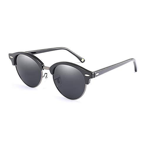 Easy Go Shopping Urlaub Fahren Sonnenbrille Brille HD polarisierte Metall Aviator Brille Sonnenbrillen und Flacher Spiegel (Color : Schwarz, Size : Kostenlos)