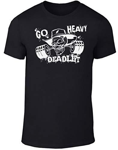 GO HEAVY Herren Fitness Gym Sport T-Shirt   Kurzarm Trainings Männer Rundhals Shirt   Aufdruck Deadlift Schwarz S
