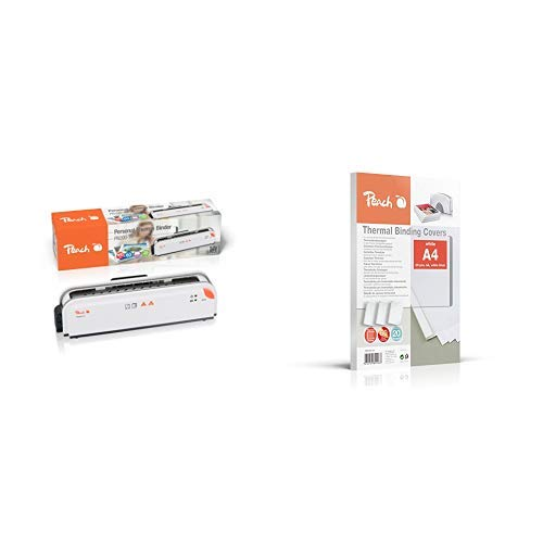 Peach PB200-70 Thermobindegerät DIN-A4 | Testsieger* | schnell startklar | nur 1 min. Bindezeit | einfachstes und schnellstes Bindesystem & Peach PBT306-01 Thermobindemappe 20 Stück, weiß