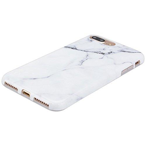 2 x Coque iPhone 7 Plus (5.5 pouce) , Marbre TPU Case Silicone Slim Souple Étui de Protection Flexible Soft Cover Anti Choc Ultra Mince Integrale Couverture Motif Design Bumper Caoutchouc Gel Anfire H Blanc et Diamant Bleu