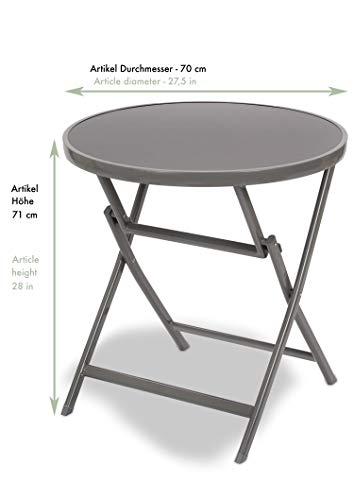 Brubaker Beistelltisch oder Esstisch Milano – Glastisch rund klappbar als Gartentisch – 70 cm Ø – Aluminium – Wetterfest – Silbergrau