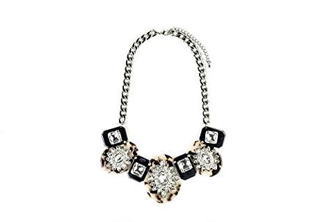 Damen Statement Halskette Kristall Daisy und tortouise Shell Anhänger Fashion
