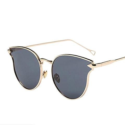 BZ086(5.4 X 5.2cm) Anglewolf Fashion Vintage Metal Frame Mirror Sunglasses Cat Eye Sunglasses (Gray&Gold)