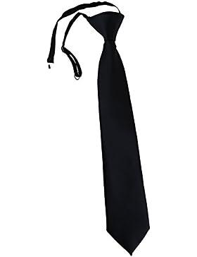 TigerTie Security Sicherheits Krawatte in Uni einfarbig - vorgebunden Gummizug