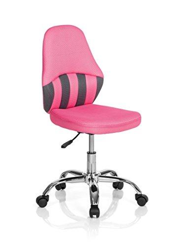 hjh OFFICE 670650 KIDDY STRIPE Kinder Drehstuhl, Stoff, grau/pink