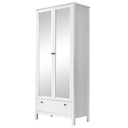 trendteam Garderobe Garderobenschrank Schrank Ole, 92 x 192 x 38 cm in Weiß mit Schubkasten und viel Stauraum
