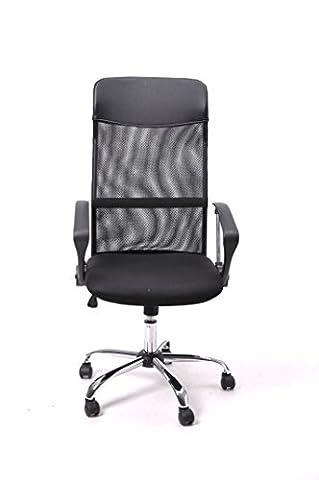 FurnitureR Fauteuil chaise de bureau Dossier haut en maille Executive réglable pivotant Recline Chaise de bureau d'ordinateur de style Noir