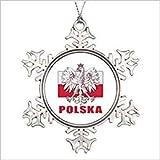 Monsety Polonia Polska Escudo de Armas La Navidad 2018 Navidad Copo de Nieve Ornamento Funny Holiday Navidad Árbol Decoración Regalo