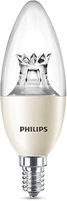 Philips WarmGlow - Bombilla LED esférica, casquillo E 14, consume 8 W equivalente a 60 W, regulable, luz cálida