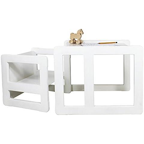 3 en 1 Muebles Para Niños, Juego de 2, Una Pequeña Silla Mesa y Una Grande Silla Mesa, Hechos de Madera de Haya Blanca