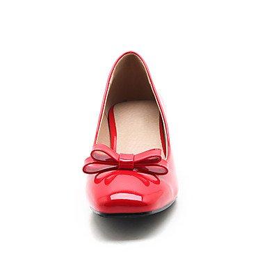 Talloni delle donne Primavera Estate Autunno Inverno Dress Altro Patent Leather ufficio & carriera casuale tacco grosso Bowknot Nero Rosso Bianco mandorla Red