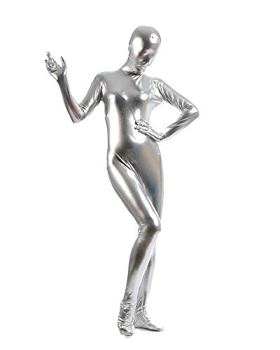 tüm Ganzkörper Anzug Suit Halloween Kostüm Silber S (Die Besten Kostüme Halloween)