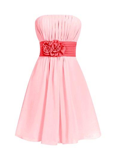 Dresstells, robe courte de demoiselle d'honneur sans bretelles avec ceinture Corail