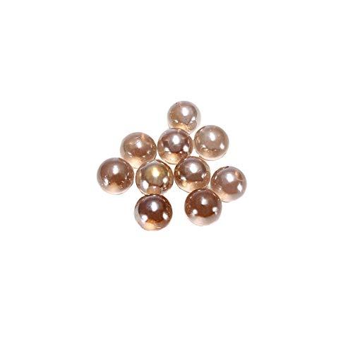 YaptheS 10 PCS Transparente Perlen freier runde Glasmurmeln Kugel Checkers Marbles Ball Masse zum Vaseenfüller Brown