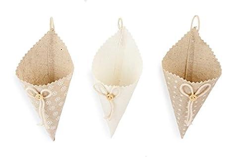 3x Deko Tüte Kegel aus Stoff mit Schleife und Knopf zum Hängen braun weiß, Ø 6cm x 18cm, Stoffbeutel Stofftüte Beutel Säckchen im