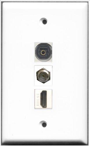RiteAV-1-Port, HDMI, 1COAX Kabel, Accessoires F und 1Port Toslink-Wanddose Single Gang Decora Plate