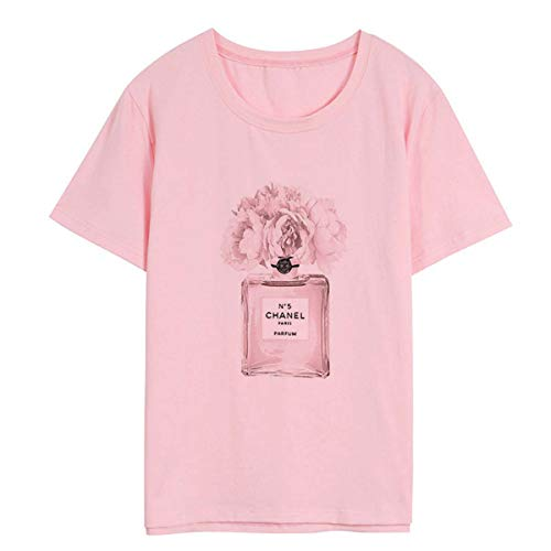 Women White T Shirt Cotton O-Neck Harajuku Print High-end Brand Perfume Punk T-Shirt Print Casual Short Sleeve Tshirt Streetwear 1931-Pink S -