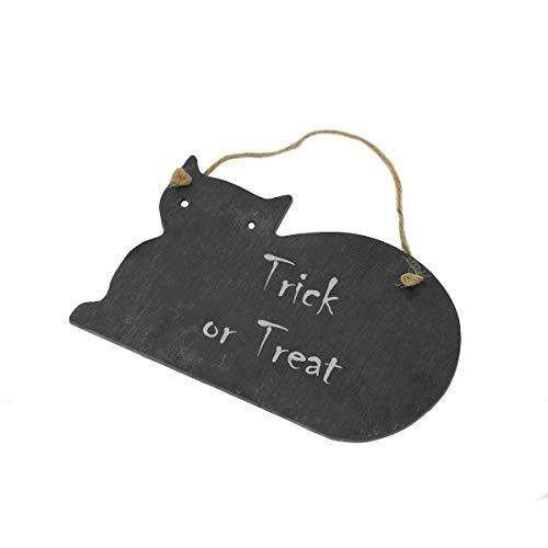 Halloween-Schieferplatte in Katzenform