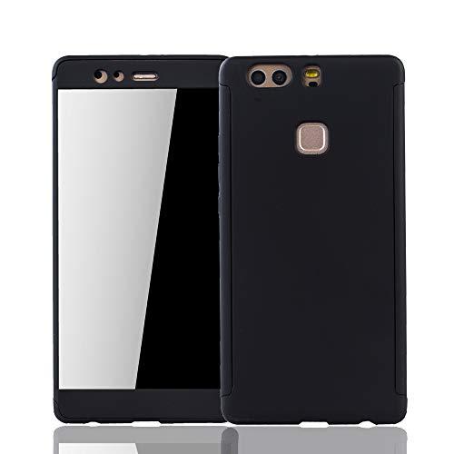 König Design Schutz-Case geeignet für Huawei P9 Plus Hülle mit Panzerglas | Sturzsichere Full Cover Handyhülle in Schwarz