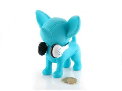 Hucha de perro banquero Chihuahua 'goes música' azul