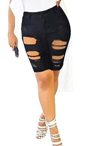 EKU Womens Denim Destroyed Mid Rise Stretch Bermuda Shorts Jeans 2XL Black