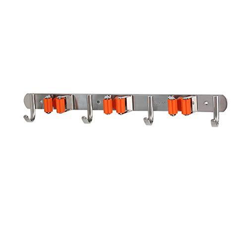 BoaCling Mop-Halter, 304 Edelstahl Besen Mop Halterung Garage Wand Rahmen Federstahl Wandaufhängung, 3 Schnellspanner + 4 Haken LED Rahmen Garten Werkzeug Aufbewahrung