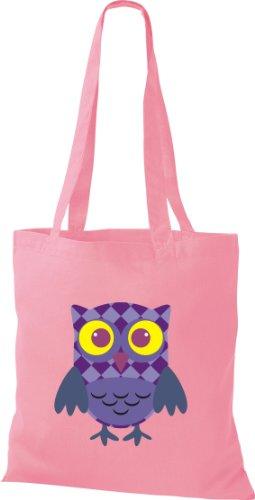 Stoffbeutel Bunte Eule niedliche Tragetasche mit Punkte Karos streifen Owl Retro diverse Farbe rosa