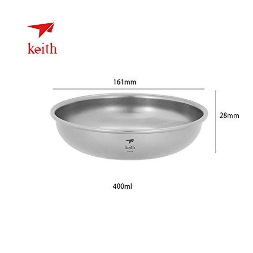 Keith Titanium Teller 150ml ~ 450ml Outdoor Geschirr Camping Teller Reisen Ultra Light Schale, 400ml-Ti5367