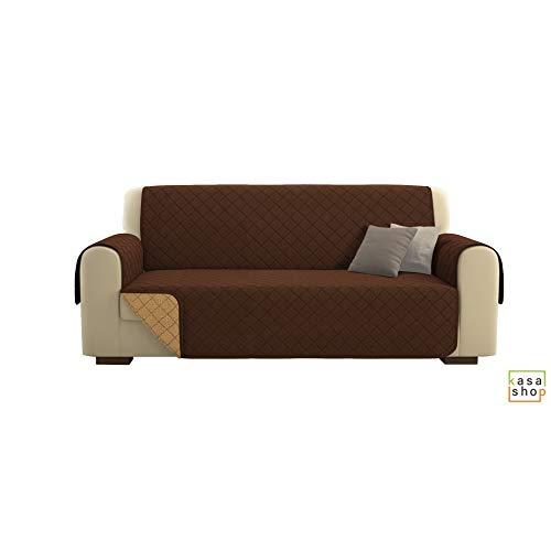 Kasa shop outlet copridivano/salvadivano deluxe imbottito, reversibile doubleface copertura divano (marrone, divano 3 posti)