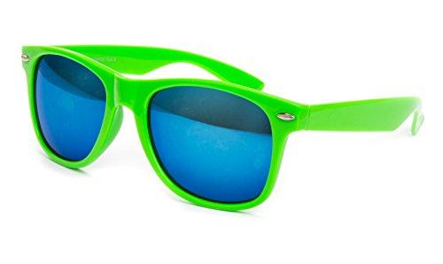 Nerdbrille Sonnenbrille Nerd Atzen - Neon Grün Blau Verspiegelt Pilotenbrille