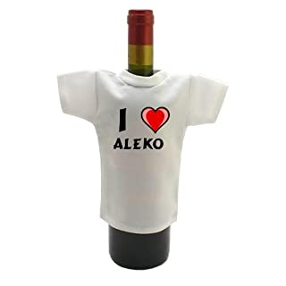 Personalised Wine Bottle T-Shirt with I Love Aleko (first name/surname/nickname)