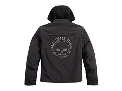 HARLEY-DAVIDSON Reflective Skull 3-in-1 Soft Shell Riding Jacke, 98164-17EM, L Skull Textile Jacket