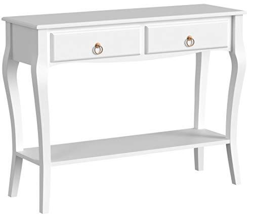homcom Mobiletto Tavolo Consolle da Ingresso Moderno con 2 Cassetti Casa Legno 100 × 33 × 76cm Bianco