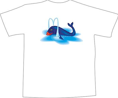 T-Shirt E498 Schönes T-Shirt mit farbigem Brustaufdruck -Logo / Grafik - Comic Design - dicker Fisch spuckt Wasser Schwarz