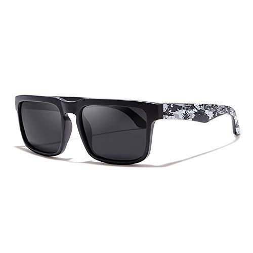 WWVAVA Sonnenbrillen Blickfang Funktion polarisierte Sonnenbrille für Männer Matte Black Frame Fit.Malen Tempel spielen coole Sonnenbrille mit Case-in Herren Sonnenbrille von Apparel Zubehör, c2