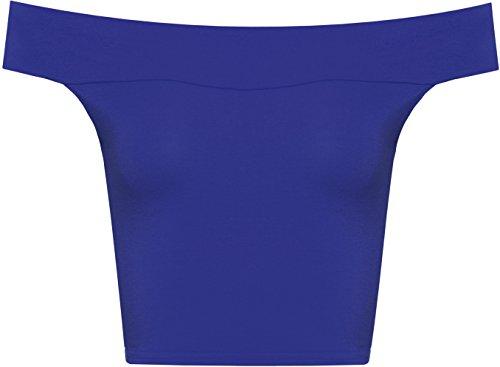 WearAll - Épaule Off cultures plaine court Bandeau Ladies Open Cowl Neck Haut - Hauts - Femmes - Tailles - 36-42 Bleu royal