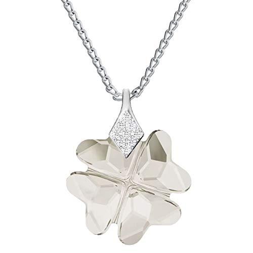 *Beforia Paris* Halskette - Glücklicher Klee - Farben Varianten - Glückssymbol - mit Silberkette aus 925 Silber mit Swarovski® Elements Anhänger, Halskette mit Schmucketui PIN/75 (Silver Shade) -