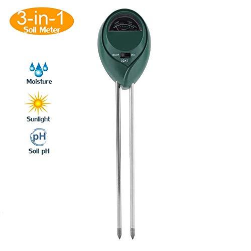 3 en 1 Humedad/pH/Luz solar Medidor de suelo Monitor de agua del suelo Higrómetro Planta agrícola...