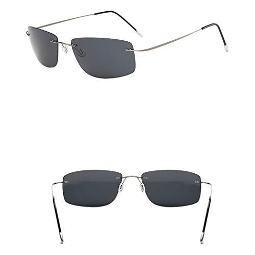 HONGNA Mode Helle Sonnenbrille Rahmenlose Reine Titan Licht Männer Und Frauen Platz Fahren Spiegel Polarisierte Sonnenbrille Sonnenschirm Spiegel (Farbe : SCHWARZ)