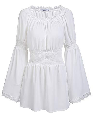 trudge Damen Schulterfrei Vintage Bluse Lange Ärmel Spitze Rüschen Smocked Taille Boho Tops Shirts Frühling Herbst Winter (XXL, Weiß)