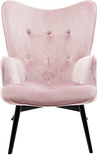 Kare Design Sessel Vicky Velvet, samtiger Loungesessel, TV-Sessel mit dunklem Holzgestell, Rosa (H/B/T) 92x59x63cm