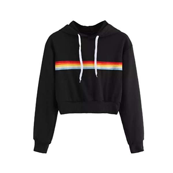 Women Crop Tops Hoodies Hevoiok Casual Fashion Sexy Rainbow Striped Print Long Sleeve Short Sweatshirt Pullover Blouse