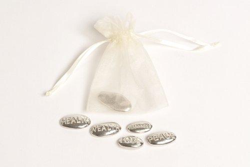 Erstkommunion Geschenk Idee–5Zinn Nachricht Pebbles in einem weiß/pink/blau Organza-Beutel mit Kordelzug. (Für Einzigartige Jungen Erstkommunion-geschenke)