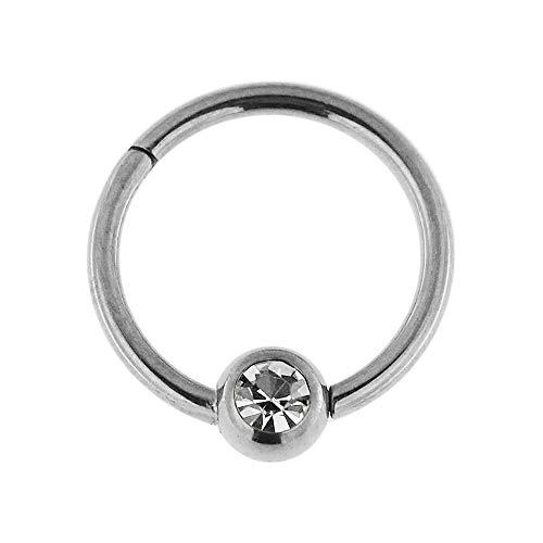 16 Gauge - 6MM Durchmesser 316L Chirurgenstahl Clicker klappbar Bead Ring mit Kristall Stein Piercing Schmuck