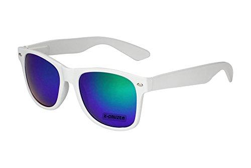 X-CRUZE® 8-038 X0 Nerd Sonnenbrille Retro Vintage Design Style Stil Unisex Herren Damen Männer Frauen Brille Nerdbrille - weiß und blau-grün verspiegelt