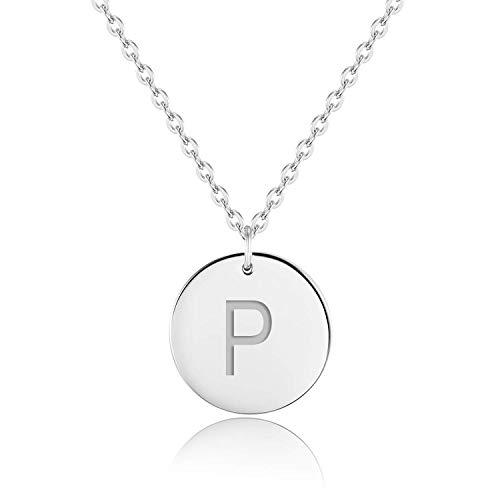 URBANHELDEN - Buchstaben-Kette - Silber Damen-Kette mit deinem Wunschbuchstaben - Wunschgravur Alphabet - Personalisierte Buchstabenkette - Schmuck Silber - Buchstabe P