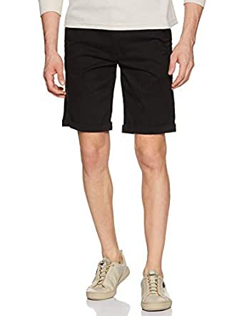 Diverse Men's Slim Fit Shorts (DVS01S3L02-18_Black_30)