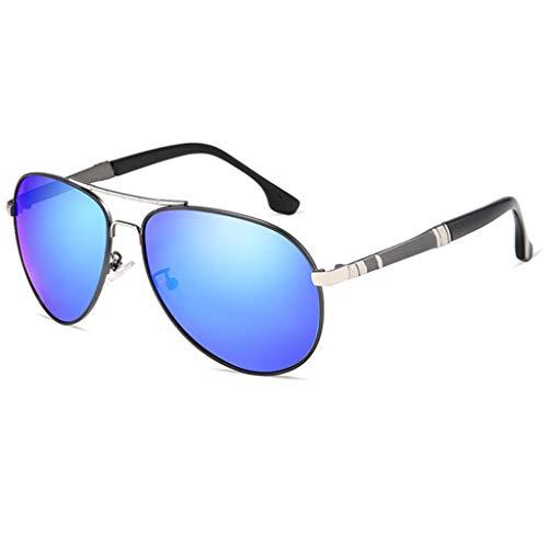 Amcer Polarisierte treibende Sonnenbrille der Männer, Klassische Flieger-Art, 100% UV-Schutz Ultraleichtes Al Mg Golf, der Sport-Sonnenbrille fischt Silver Frame - Blue Lens