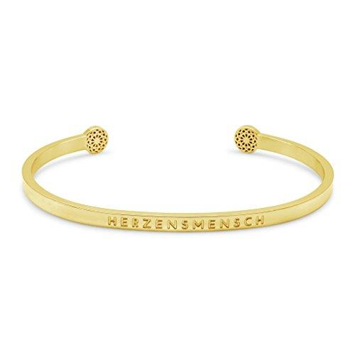 Simple Pledge - HERZENSMENSCH - Blind - Armreif in Geschenkverpackung in Gold mit Gravur für Damen